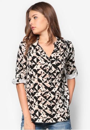 幾何圖形長zalora 包包評價袖襯衫, 服飾, 服飾