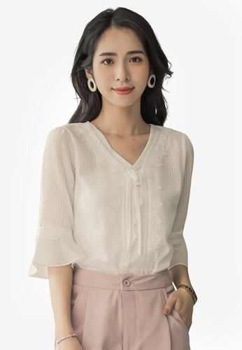 Tokichoi white Lace Textured Sheer Blouse D1519AA9983813GS_1