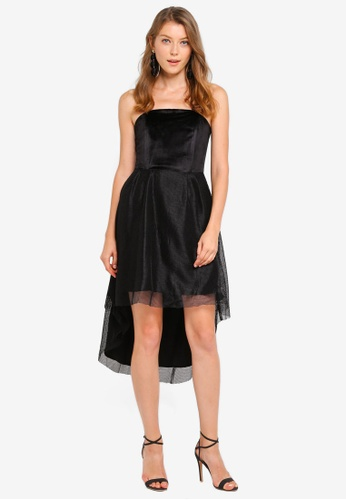 Preen & Proper black Bandeau Dip Back Midi Dress BAE80AAB3F2A82GS_1