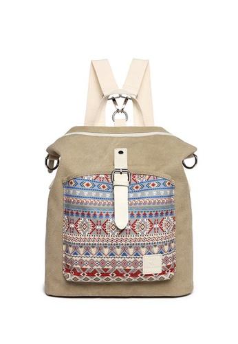 Lara beige Women's Folk Customs Nylon Zipper Backpack Shoulder Bag - Khaki B2AD6ACE3EDB1AGS_1