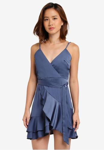 INDIKAH blue Ruffle Hem Dress With Waist Sash 6F59AAA2122F4AGS_1