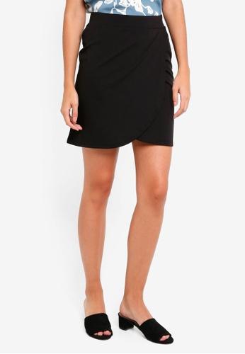 ICHI black Kate Wrap Skirt BFD3CAA8DAA591GS_1
