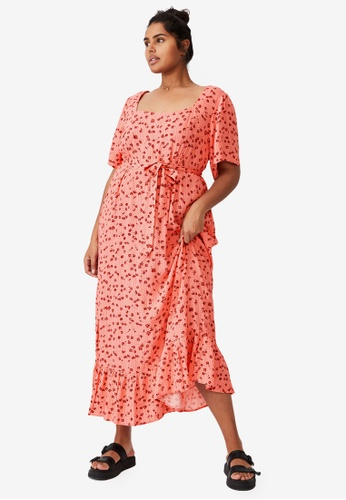 Cotton On pink Plus Size Laura Frill Hem Maxi Dress C6169AAACE1588GS_1