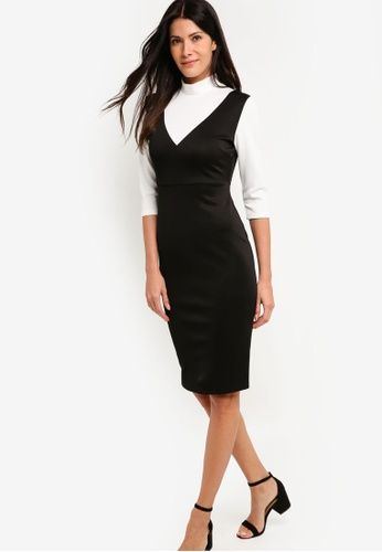 ZALORA black and white High Neck Scuba Dress E8E5EAA36E9928GS_1
