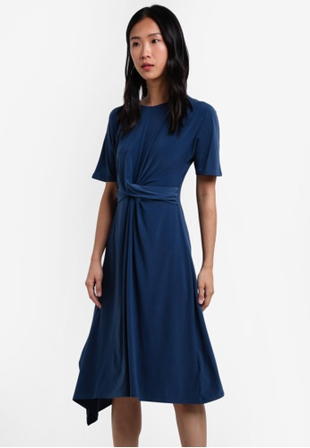 TOPSHOP blue Drape Belt Midi Dress TO412AA0S4HSMY_1