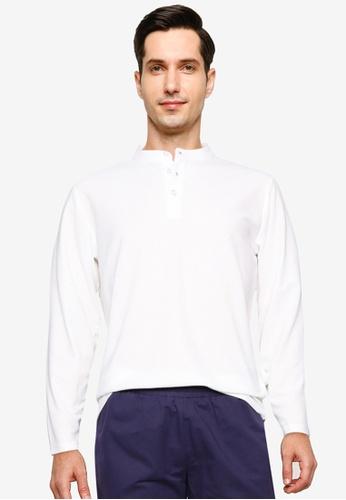 ZALORA BASICS white Mandarin Collar Long Sleeve Polo Shirt F59FAAA79C171AGS_1