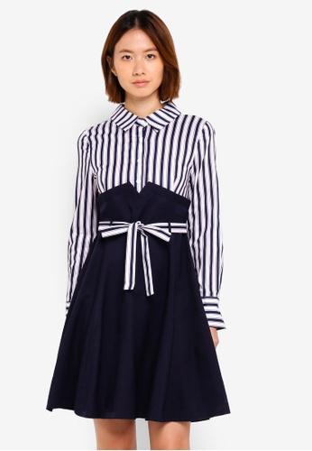 Haute Kelly blue Yi-Kyung Stripes Dress A7E03AA9FC1F62GS_1