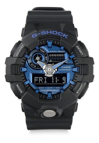 G-Shock black Casio G-SHOCK Jam Tangan Pria - Black Blue - Resin - GA-710-1A2DR 87654AC09D3D7EGS_1