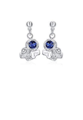 Glamorousky blue Fashion Pop Geometric Earrings with Blue Cubic Zircon 0D734AC3B70BD1GS_1