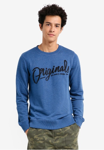 Jack & Jones blue Script Crew Neck Sweatshirt 02B4AAA74B7CDFGS_1