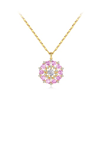 Glamorousky 粉紅色 時尚優雅鍍金色幾何圓形花紋吊墜配粉色鋯石及項鏈 1A844ACD1546D7GS_1