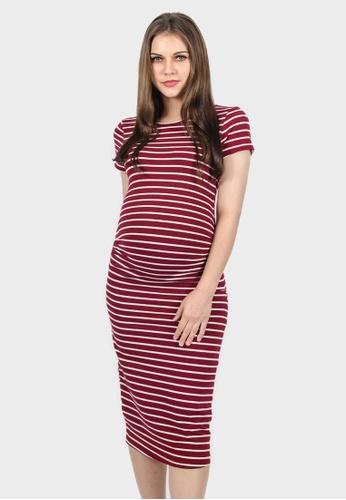 dd5d81fc37 9months red Dark Red Perfect Fit Midi Maternity Dress 5B75AAAF9F0D09GS 1