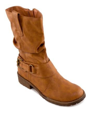仿皮拉鍊中esprit 眼鏡筒靴, 女鞋, 靴子