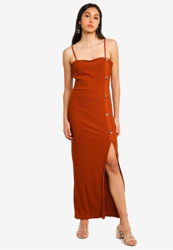 River Island brown and orange Rust Button Slip Dress 2455AAAC407CF2GS_1