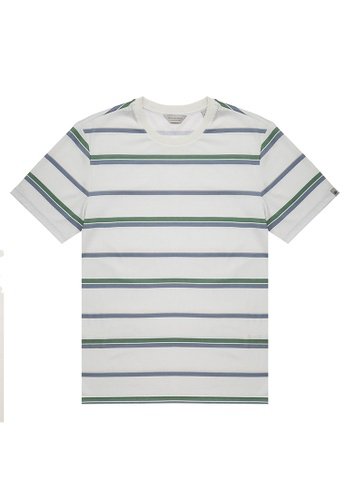 Gieves & Hawkes white STRIPED CREWNECK T-SHIRT 947A3AAAA7DF19GS_1