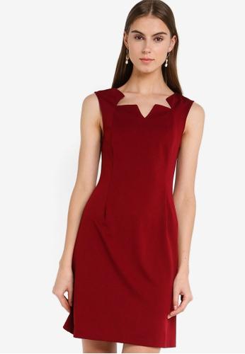 ZALORA 紅色 無袖鉛筆洋裝 60147AA141FE53GS_1