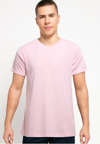 Tolliver pink V Neck Basic Short Sleeve Tee B2933AA33A0D5BGS_1
