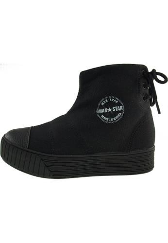 Maxstar 黑色 新款韩国鞋C30-BackLace時尚帆布布混合女黑色 US Women Size MA345SH66HCFTW_1