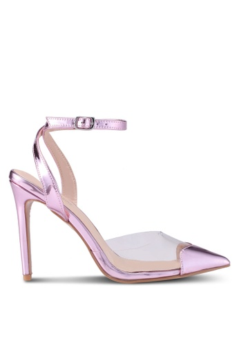 Public Desire pink Heart Throb Perspex With Heart Pointed Toe Heels BED42SH85581DBGS_1