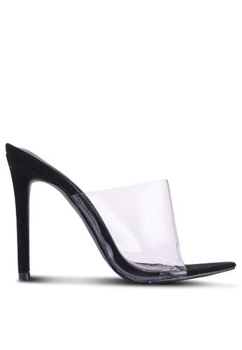 MISSGUIDED 黑色 尖頭透明高跟穆勒鞋 DCE2DSH1351AF1GS_1