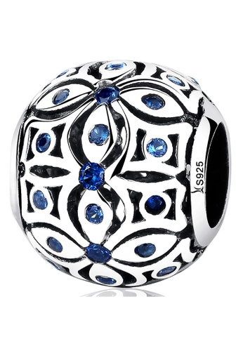 925 Signature silver 925 SIGNATURE Solid 925 Sterling Silver Floral with Sapphire Blue CZ Charm 22DC1ACA4184E8GS_1