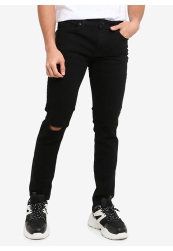 Only & Sons black Warp Life Black Knee Cut Skinny Jeans 3090FAA9176EA4GS_1