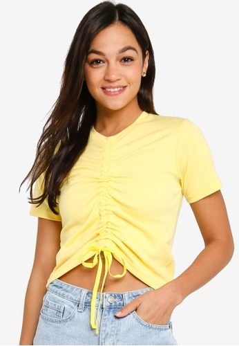 UniqTee yellow Pull String Crop Top 3A3FCAA3101DC5GS_1