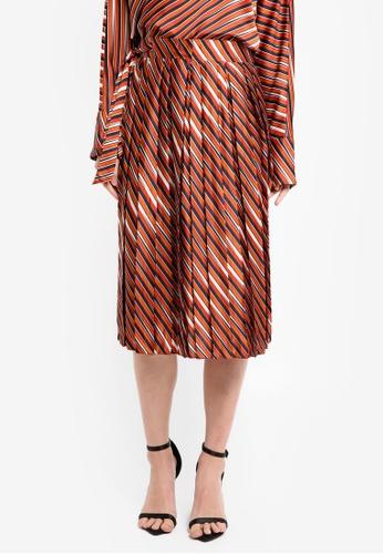 Mango orange Stripes Pleated Skirt MA193AA0T0YAMY_1