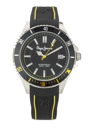 R23511060京站 esprit06 Brian 撞色沖孔矽膠手錶, 錶類, 飾品配件