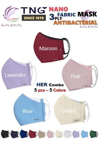 Cantik Butterfly multi TNG 3 Ply Antibacterial Nano Fabric Mask Reusable (Her Combo: 1pcs Maroon + 1pcs Pink + 1pcs Lavender + 1pcs Blue+ 1pcs Cream) AB99BES5877083GS_1