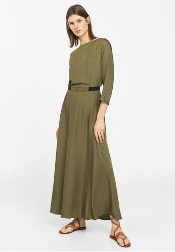 Mango green Contrast Waist Dress MA193AA33BTYMY_1