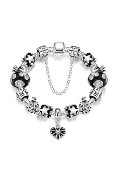 PDRH004-A Morano Sterling DIY Bracelet Snowflake & Heart Carved Lucky Beads(Silver Pleated)