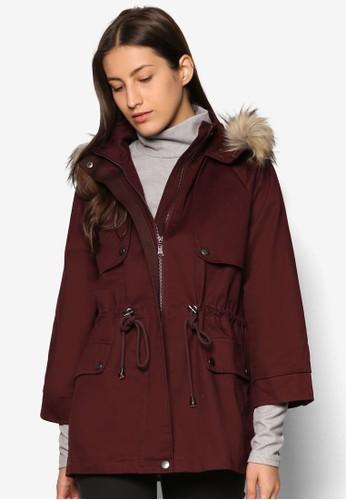 Collection 可拆式絨毛連帽大衣、 服飾、 夾克 & 大衣ZALORACollection可拆式絨毛連帽大衣最新折價