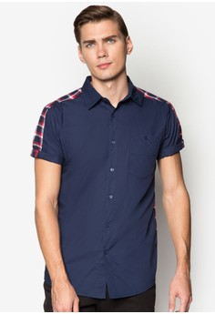 CN-Checkered Back Short Sleeve Shirt