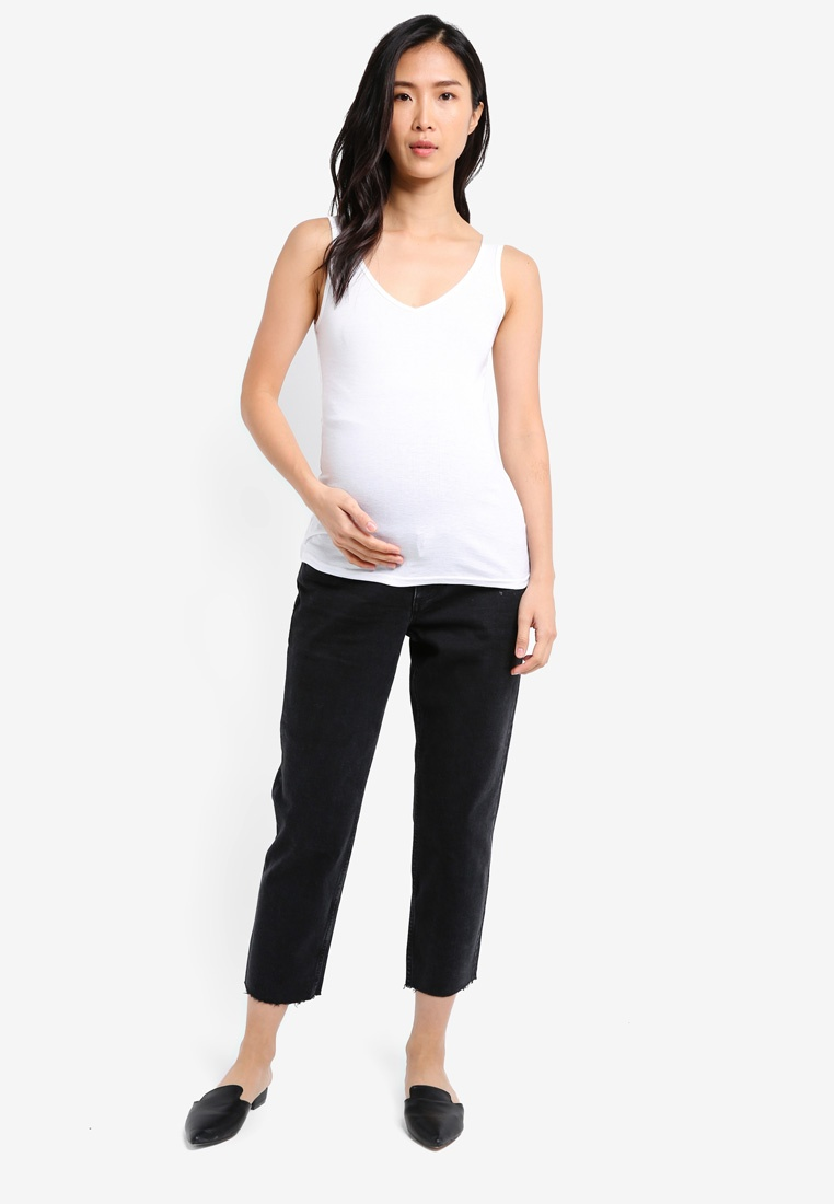 Straight The Over Washed TOPSHOP Maternity Bump Black Jeans 1qHwIf