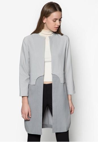 色塊拼接長版開襟外套, 服飾尖沙咀 esprit outlet, 夾克 & 大衣