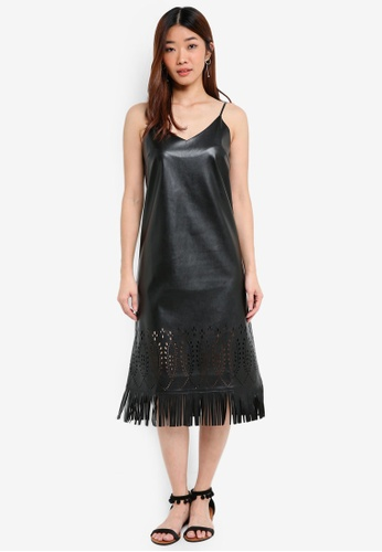 Something Borrowed black Laser Cut Fringe Cami Dress F6CFEAAFA3065FGS_1