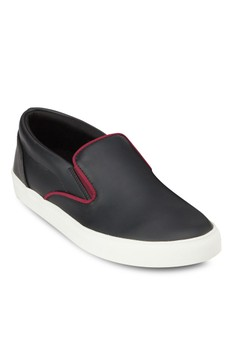 Contrast Piping Faux Leather Slip On Sneaker