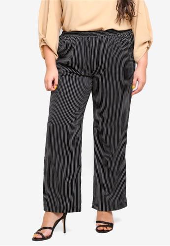Ex'otico black Plus Size Striper Trousers 15E64AA83FBCE5GS_1