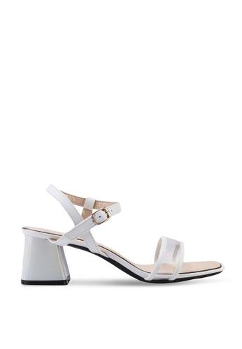 Kimmijim 白色 Mel Open Toe Ankle Strap Heels C2741SHB40CD39GS_1