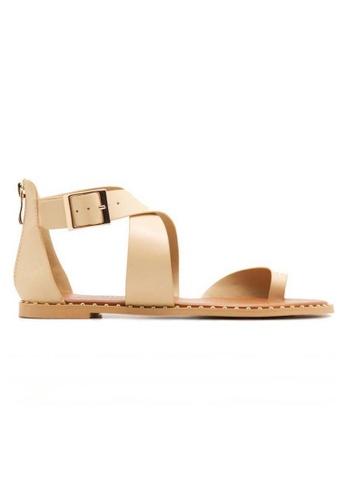 Deraine Shoes beige Deraine Cross Vamp Sandals (Beige) DE489SH0SYR1MY_1