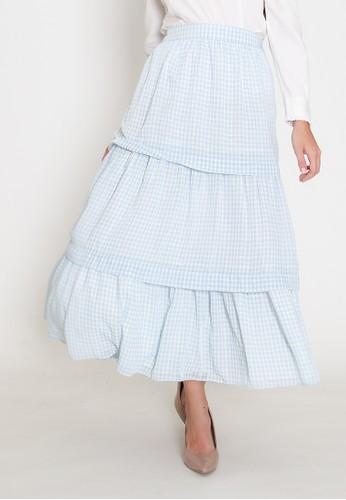 MAMORA white and blue Mamora Blue Plaid Maxi Skirt 8766EAAFAFBE89GS_1