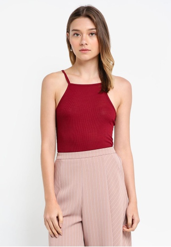 Something Borrowed red Cut In Rib Tank Top 6A002AAF0C8F0EGS_1