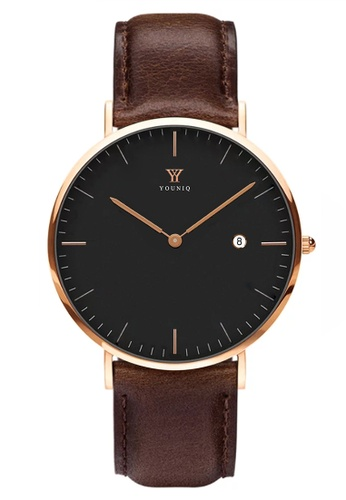 YOUNIQ black and gold and brown YOUNIQ Men Pinot Black Dial Rosegold Quartz Sapphire Crystal Genuine Leather Watch E65E8ACB6641AAGS_1