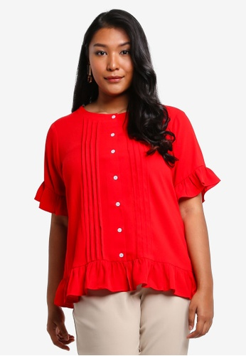 Ex'otico red Plus Size Short Sleeve Pleated Frilly Blouse 56A31AA7871D31GS_1