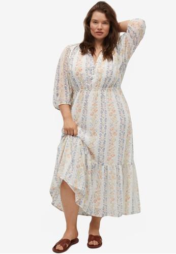 Violeta by MANGO white Plus Size Lurex Print Dress AABE1AAE5C9658GS_1