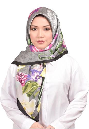 FATIMÉ multi Satin Square Hijab Gucci (Grey) EEF81AA3895F64GS_1