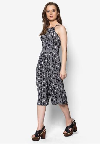 交叉肩帶印zalora時尚購物網的koumi koumi花連身褲, 服飾, 服飾