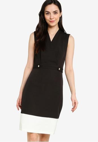ZALORA WORK black Colourblock Wrap Dress B2F60AAE89866BGS_1