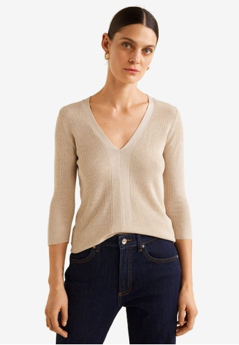 Mango beige Fine-Knit Sweater D60A2AA2FE5431GS_1